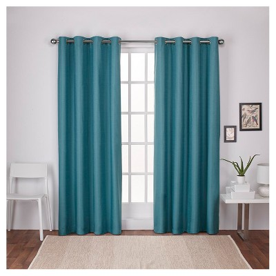 London Thermal Textured Linen Grommet Top Window Curtain Panel Pair Teal (54 x96 )- Exclusive Home™