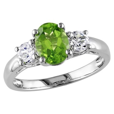 1.25 CT. T.W. Peridot and .64 CT. T.W. Sapphire 4-Prong Setting Ring in Sterling Silver - 6 - Green