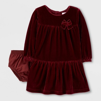 Baby Girls' Long Sleeve Holiday Velvet Dress - Just One You® made by carter's Maroon 6M