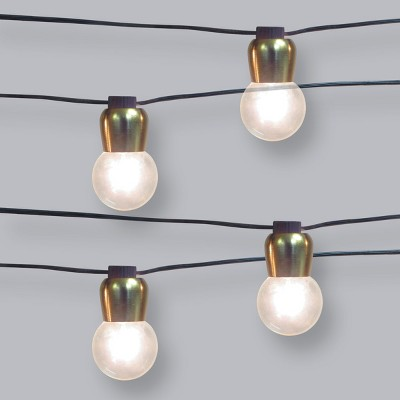 10ct Outdoor Gold Hood G40 String Lights with Black Wire - Opalhouse™