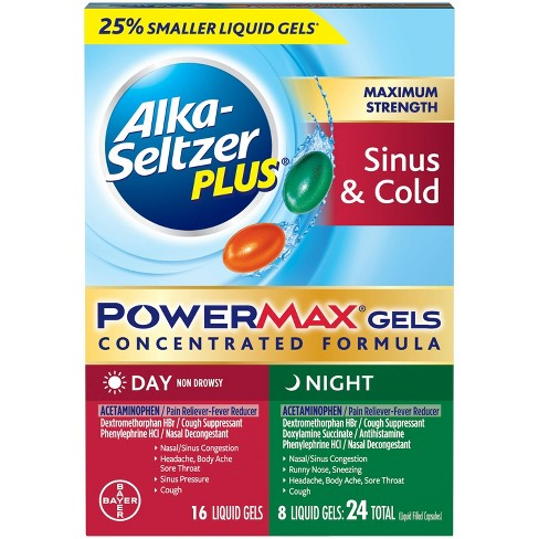 Alka-Seltzer Plus PowerMax Sinus & Cold Day/Night Liquid Gel Capsules - Acetaminophen - 24ct - image 1 of 4