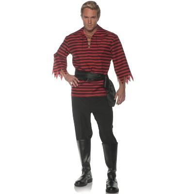 Underwraps Costumes Striped Pirate Adult Costume (Black/Red)