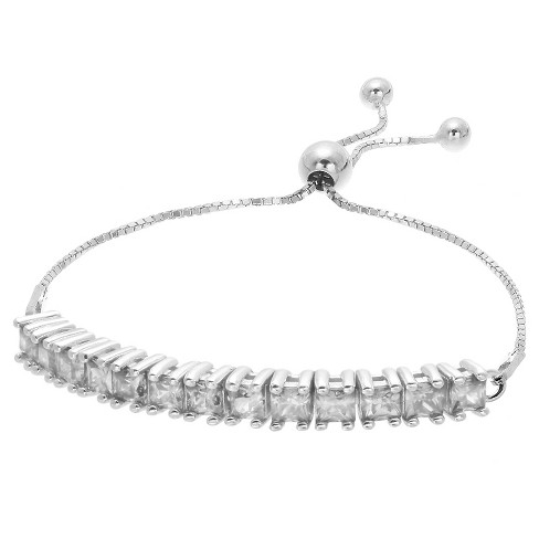 "Women's Adjustable Bracelet with Princess Cubic Zirconias in Sterling Silver - Silver/Clear (9.25"") - image 1 of 1"