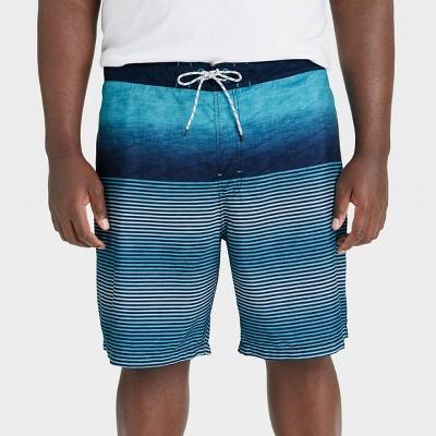 "Men's Big & Tall 9"" Striped Regular Fit Board Shorts - Goodfellow & Co™ Blue"