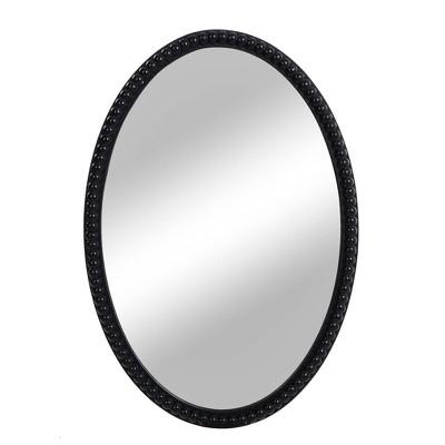 Wood Oval Mirror with Beaded Trim Black - StyleCraft