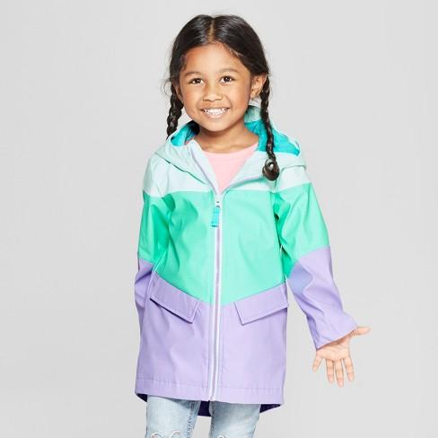 7cf602b21 Toddler Girls' Colorblock Rain Jacket - Cat & Jack™ Aqua 6X : Target