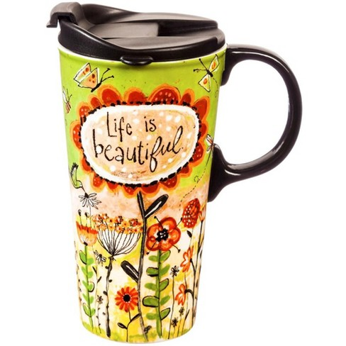 Evergreen Garden Ceramic Travel Cup, 17 oz., Life Is Beautiful - image 1 of 1