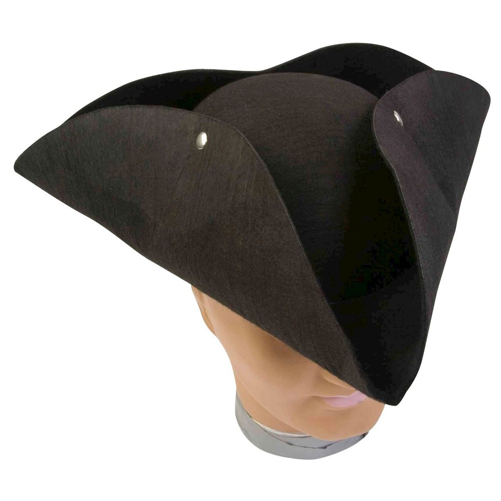 Image of Halloween Adult Deluxe Pirate Hat Black, Adult Unisex, Size: One Size