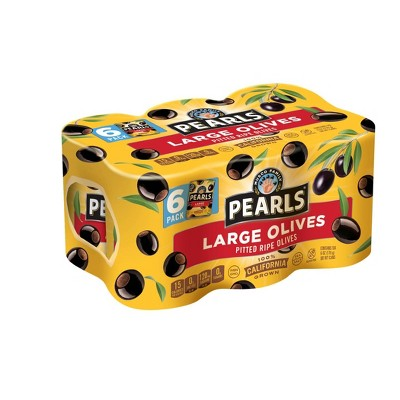 Pearls Large Pitted Ripe Olives - 6oz/6pk