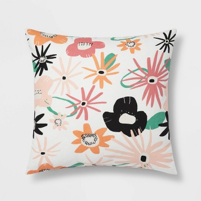 Daisy Printed Cotton Square Throw Pillow - Room Essentials™