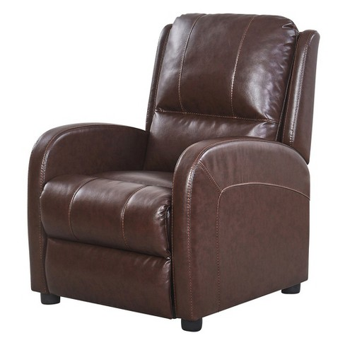 Edmond Pushback Leather Recliner - Brown - Abbyson - image 1 of 8
