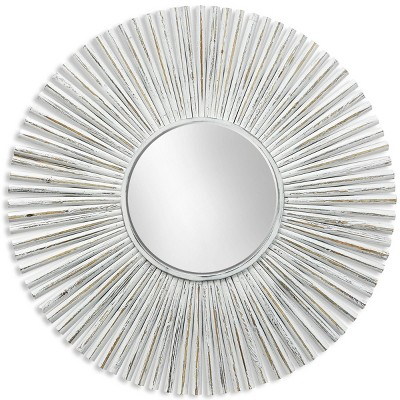 Round Coastal Wood Frame Mirror White - StyleCraft