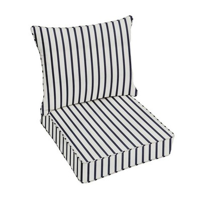 Sunbrella Stripe Outdoor Seat Cushion Blue/White