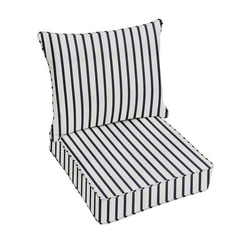 Sunbrella Stripe Outdoor Seat Cushion, White Outdoor Furniture Cushions
