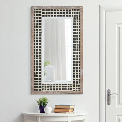 "26"" x 11"" Decorative Whitewashed Wood Wall Mirror with Handmade Rice Paper - Crystal Art Gallery"