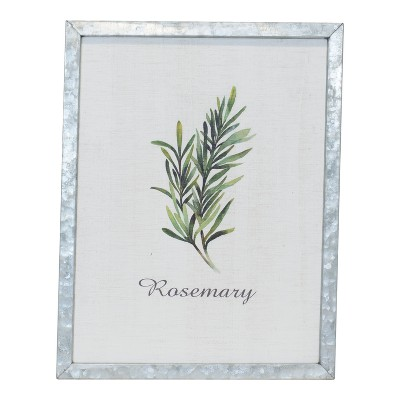 Metal Framed  Rosemary  Wall Sign Panels Silver Gray 17.7  x 13.8  - VIP Home & Garden
