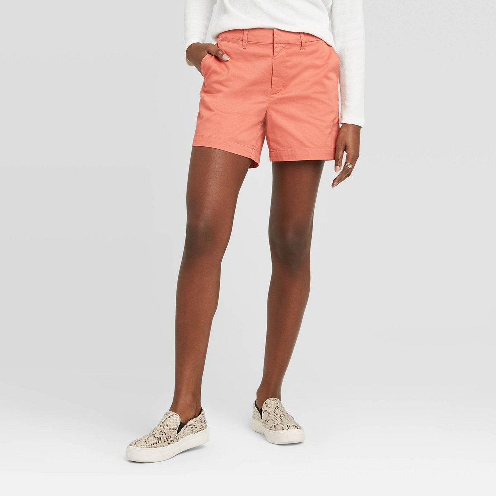 Women's Casual Fit High-Rise 5 Chino Shorts - A New Day Coral 16, Pink was $17.99 now $12.59 (30.0% off)