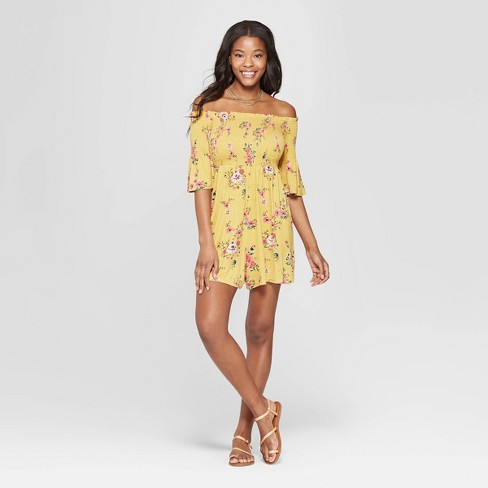 62130d8ee86ff Women s Floral Print 3 4 Sleeve Off the Shoulder Smocked Knit Romper -  Xhilaration™ Gold