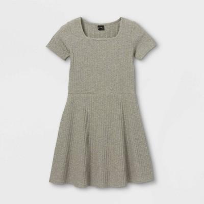 Girls' Square Neck Short Sleeve Ribbed Dress - art class™