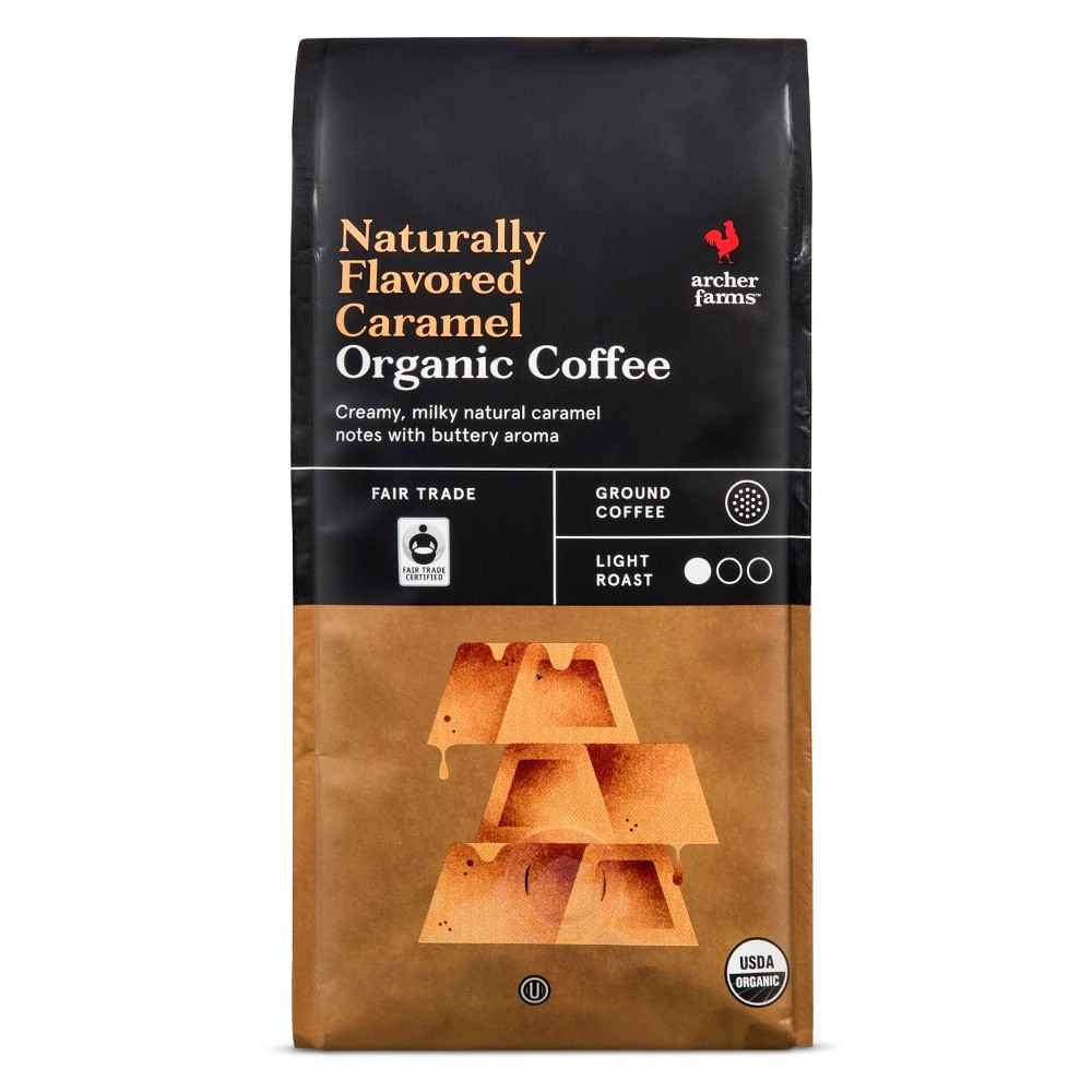 Naturally Flavored Caramel Organic Light Roast Ground Coffee - 10oz - Archer Farms