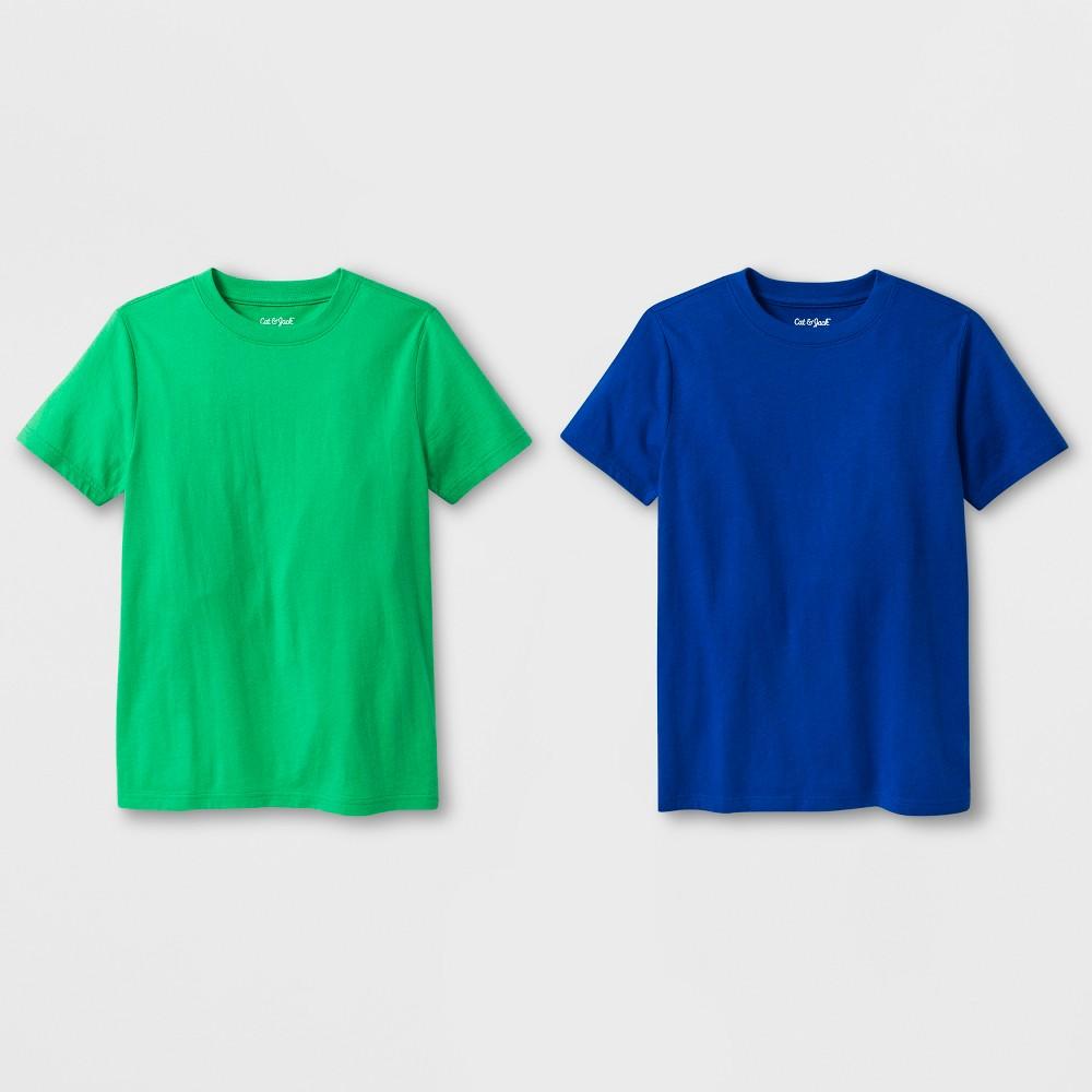 Boys 2pk Short Sleeve T Shirt Cat Jack 8482 Green Blue Xl