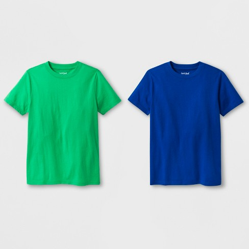 Boys' 2pk Short Sleeve T-Shirt - Cat & Jack™ Green/Blue - image 1 of 1