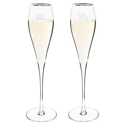 2ct Mr. & Mrs. Gatsby Silver Rim Champagne Flutes
