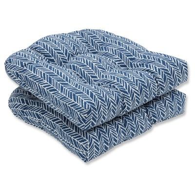 Outdoor/Indoor Herringbone Ink Blue Wicker Seat Cushion Set of 2 - Pillow Perfect