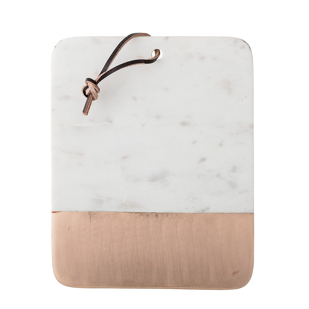 "Image of 10"" x 8"" Copper & White Marble Cutting Board/Tray with Leather Tie - 3R Studios"