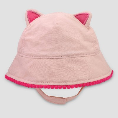 Baby Girls' Kitty Poms Woven Hat - Cat & Jack™ Pink 6-12M