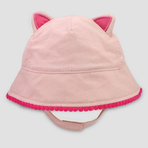 Baby Girls' Kitty Poms Woven Hat - Cat & Jack™ Pink - image 1 of 1
