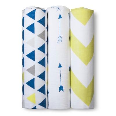 Muslin Swaddle Blankets Triangles 3pk - Cloud Island™ - Blue