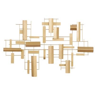 "36"" x 23"" Abstract Rectangular Metal Wall Decor Gold - Olivia & May"