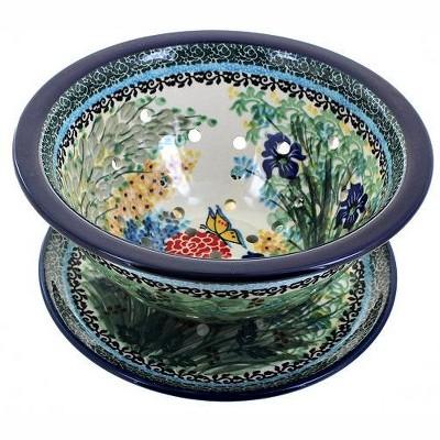 Blue Rose Polish Pottery Teresa Berry Bowl & Plate