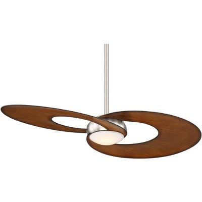 "52"" Possini Euro Design Modern Ceiling Fan with Light LED Dimmable Remote Brushed Nickel Dark Koa for Living Room Kitchen Bedroom"