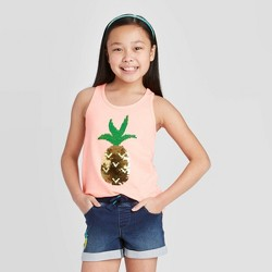Girls' Flip Sequin Pineapple Tank Top - Cat & Jack™ Neon Peach