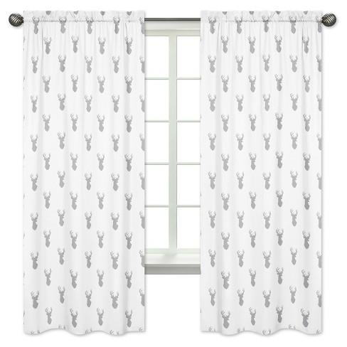 White Woodland Deer Curtain Panels