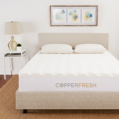 "2"" Copper Infused Wave Foam Mattress Topper - CopperFresh"