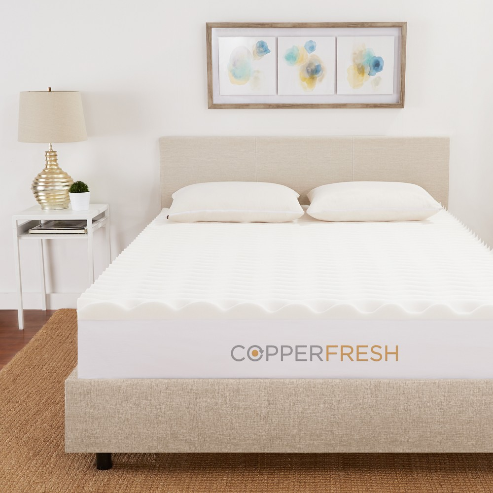 Image of California King 3 CopperFresh Wave Mattress Topper Beige - Sleep Studio