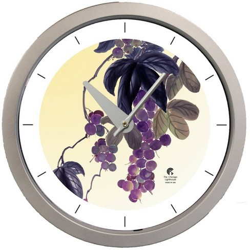 "14.5"" Artist Series Jackie Olenick Fruit of the Vine Decorative Clock Silver - The Chicago Lighthouse - image 1 of 2"