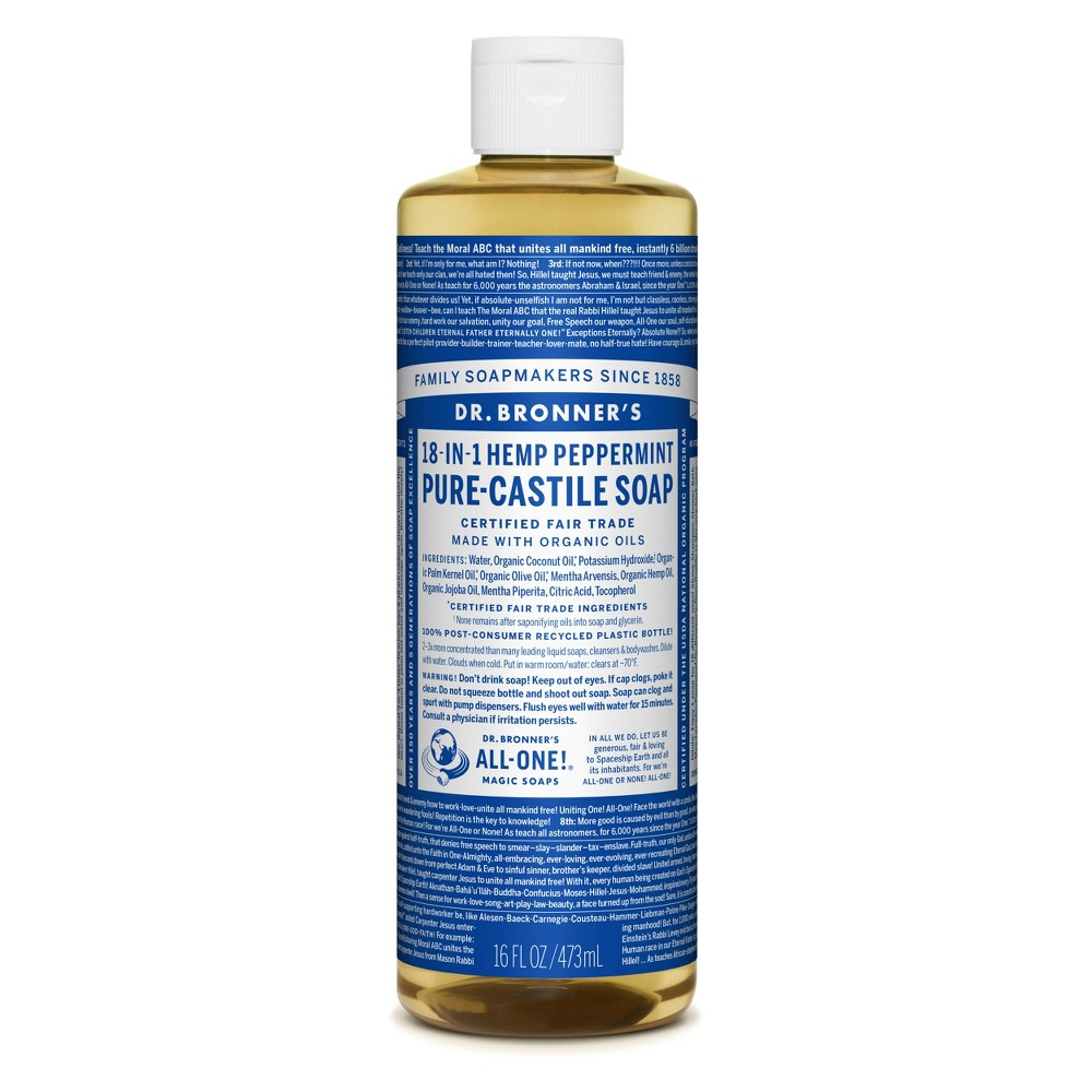 Image of Dr. Bronner's Pure Castile Soap - Peppermint - 16 oz