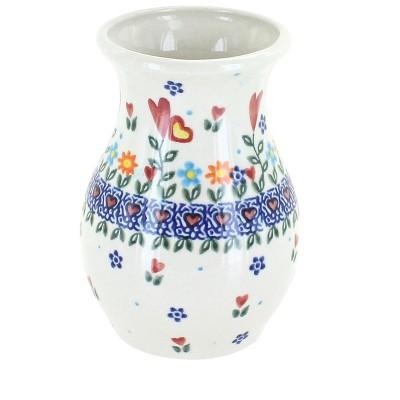 Blue Rose Polish Pottery Hearts & Flowers Vase