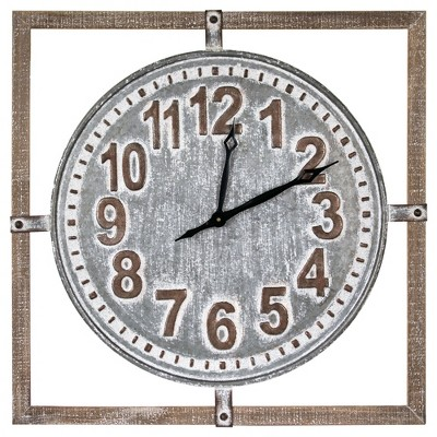 "27"" Wood Framed Metal Wall Clock Whitewashed Gray - American Art Decor"