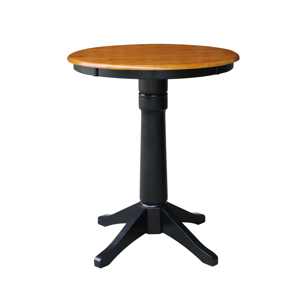 30 Linc Round Top Pedestal Table Counter Height Black/Cherry - International Concepts, Multicolored
