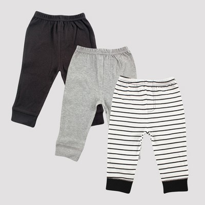 Luvable Friends Baby Boys' 3pk Tapered Ankle Pants, Stripes - Black 9-12M