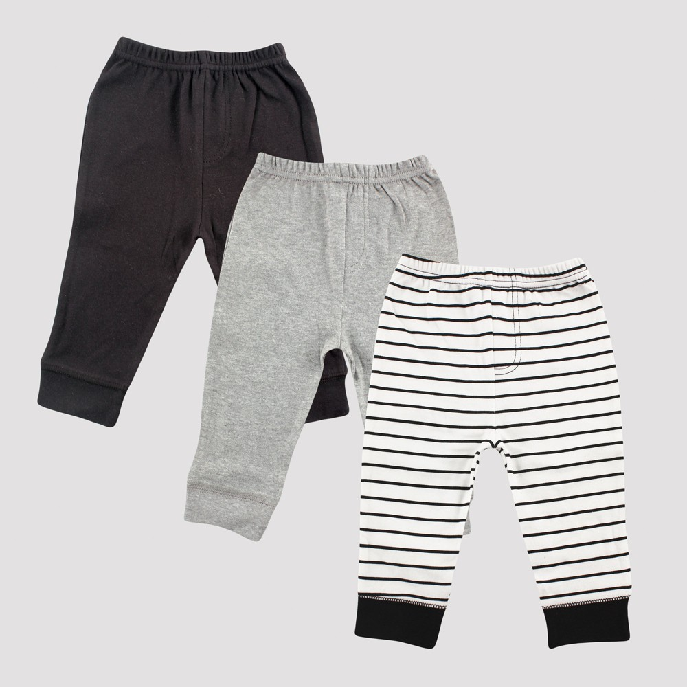 Luvable Friends Baby Boys' 3pk Tapered Ankle Pants, Stripes - Black 12-18M