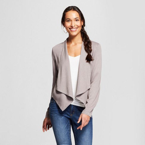 Women's Lace-Up Back Drape Front Jacket - Knox Rose™ Gray - image 1 of 2