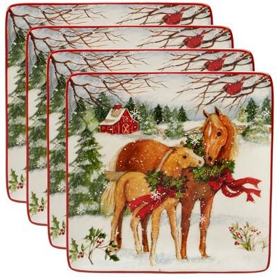 10.5  4pk Christmas On The Farm Square Ceramic Dinner Plates - Certified International