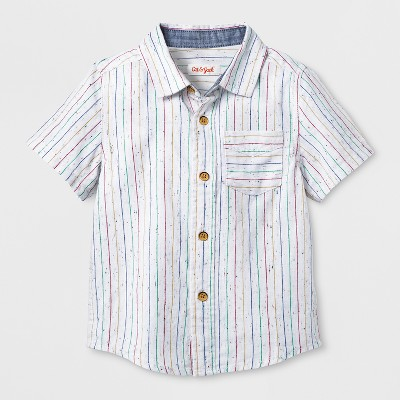 Toddler Boys' Short Sleeve Button-Down Shirt - Cat & Jack™ White 2T