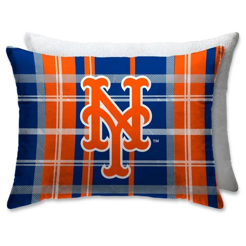 MLB New York Mets Plaid Microplush Bed Pillow with Sherpa Back - image 1 of 1